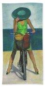With Bike On The Beach Bath Towel