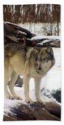 Wolfe In Winter Snow Bath Towel