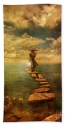 Woman Crossing The Sea On Stepping Stones Bath Towel