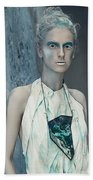 Woman In Ash And Blue Body Paint Bath Towel
