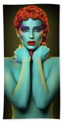 Woman In Cyan Body Paint With Curly Hairstyle Bath Towel