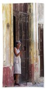 Woman In The Door Bath Towel