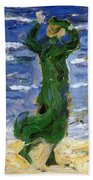 Woman In The Wind By The Sea 1907 Bath Towel