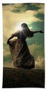 Woman On A Meadow Bath Towel