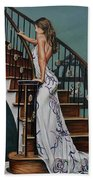 Woman On A Staircase 3 Bath Towel