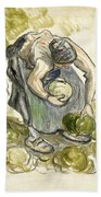 Woman Picking Cabbage Bath Towel