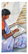 Woman Picking Rice Bath Towel