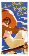 Woman Sitting On A Cruising Ship Hand Towel