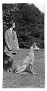 Woman With Great Dane, C.1920-30s Bath Towel