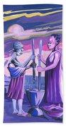 Women Pounding Cassava Hand Towel