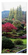 Wonderful Sunken Garden In The Butchart Gardens,victoria,canada 1. Bath Towel