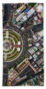 Wongwian Yai Roundabout Surrounded By Buildings, Bangkok Hand Towel by Pradeep Raja PRINTS
