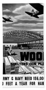 Wood Shelters Our Planes - Ww2 Hand Towel