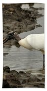 Wood Stork With Fish Bath Towel