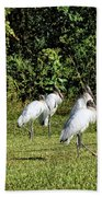 Wood Storks 2 - There Is Always One In A Crowd Bath Towel