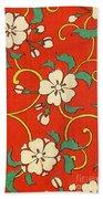 Woodblock Print Of Apple Blossoms Bath Towel