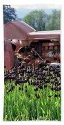Woodburn Oregon - Tractor And Field Of Tulips Bath Towel