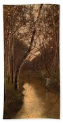 Wooded Landscape With Angler On The Riverside Bath Towel