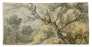 Wooded Landscape With Rocks And Tree Stump Hand Towel