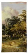 Wooded Landscape With Woman And Child Walking Down A Road  Bath Towel