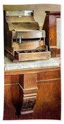 Wooden Bank Cash Register Bath Towel