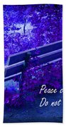 Wooden Bench With Inspirational Text Bath Towel