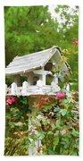 Wooden Bird House On A Pole 3 Bath Towel