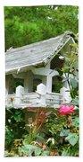 Wooden Bird House On A Pole 4 Bath Towel