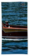 Wooden Boat Waves On Tahoe Bath Towel