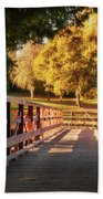 Wooden Bridge On The Rye Water - Maynooth, Ireland Bath Towel