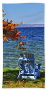 Wooden Chairs On Autumn Lake Hand Towel