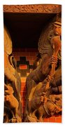 Wooden Elephants Bath Towel