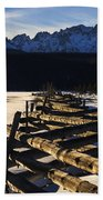 Wooden Fence And Sawtooth Mountain Range Bath Towel