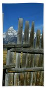 Wooden Fence, Grand Tetons Bath Towel