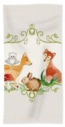 Woodland Fairytale - Grey Animals Deer Owl Fox Bunny N Mushrooms Bath Towel