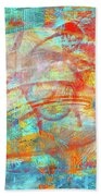 Work 00099 Abstraction In Cyan, Blue, Orange, Red Bath Towel by Alex Hall