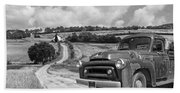 Down On The Farm- International Harvester In Black And White Bath Towel