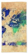 World Map Oceans And Continents Art Bath Towel