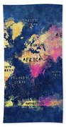 World Map Oceans And Continents Bath Towel