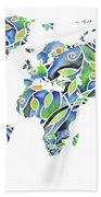 World Map Organic Green And Blue Bath Towel