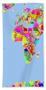 World Map Viscous Bath Towel
