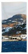 Yachts Docked At Port Skala Greece On Patmos Island Bath Towel