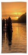 Yaquina Bay Sunset - Vertical Bath Towel