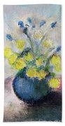 Yello Flowers In Blue Vaze Hand Towel