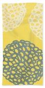 Yellow And Gray Garden Bloom Bath Towel