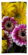 Yellow And Pink Gerbera Daisies Bath Towel