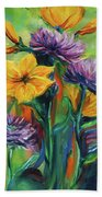 Yellow And Purple Flowers Bath Towel