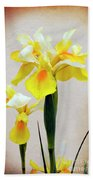 Yellow And White Iris Textured Bath Towel