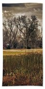 Yellow Barn And The Field Hand Towel