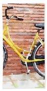 Yellow Bicycle Digital Watercolour Bath Towel